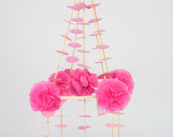 pink pajaki chandelier baby mobile