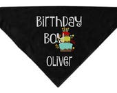 """22"""" square Birthday Boy Bandana for Dogs Personalized"""