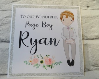 To Our Wonderful Page Boy (Custom card) Personalised Page Boy Card