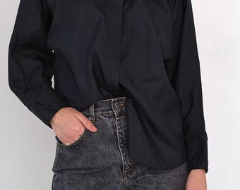 VINTAGE Black Long Sleeve Retro Shirt