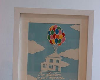 Personalised new home, paper cut art work.