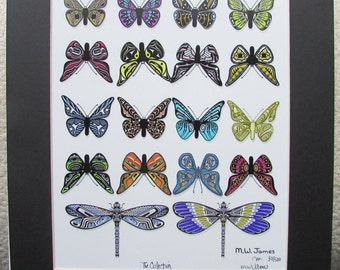 "New ""THE COLLECTION"" Butterflies Dragonflies  Totem Art Print Limited Edition Signed and Numbered"