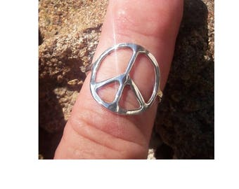 Silver peace sign rings are handmade by Old Hippie Dave 925 sterling silver made any size great Valentine gift