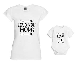 Baby/Mummy love you/love you more Matching Mum & Baby Tshirt/Baby Vest/Outfit/Christmas Gift/Mother Daughter Matching/Mommy and me matching