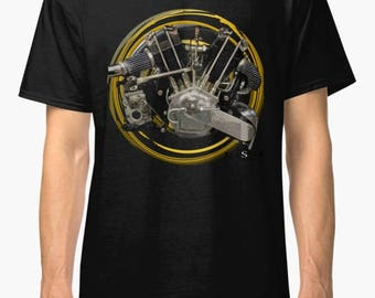 Brough Superior SS100(JAP)V-Twin 1925 inspired  Motorcycle engine TShirt INISHED Productions