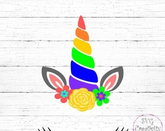 Rainbow Unicorn SVG, Unicorn SVG, Unicorn Face SVG