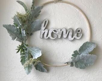 Decorative hoop wreath