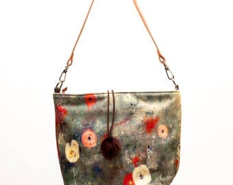 Tote made with artist canvas (winter flowers)