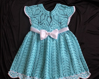 Children's dress Knitted baby dress Handmade dress Turquoise baby dress Fancy dress Openwork baby dress Children's dress crocheted,