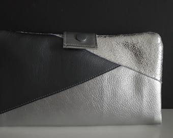 Faux silver leather wallet