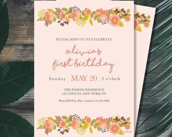 Spring Birthday Party Invitation