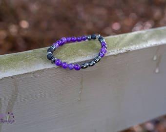 Circulation & Calming Magnetic Hematite Amethyst Lava Bead Essential Oil Bracelet 6mm
