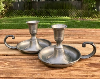 Pewter Candlestick Holders Pewter Candle Holders Preisner Pewter 2373  Set of Two Boho Decor Shabby Chic Rustic Decor Bohemian Decor