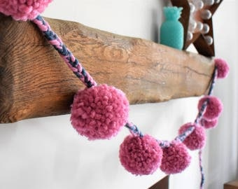 Pink and Navy pompom garland/bunting/wall hanging