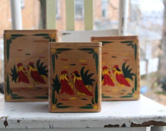 Vintage Fighting Rooster Wooden Canisters