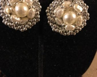 Vintage Pearl Clip Earrings with Silvertone Beads