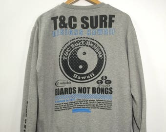 T&C SURF DESIGN Hawaii Sweater Mens Medium Vintage 90's Town and Country Surfbording Hawaiian Surfing Grey Pullover Jumper Mens Size M