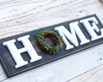 Carbon Gray Wooden Home sign, Farmhouse Decor, vertical, mantle decor, Housewarming, entryway, wedding gift, spring decor, modern farmhouse