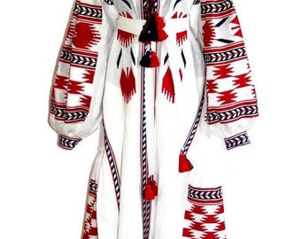 White Abaya Dress Caftan Boho Ukrainian Embroidery Vyshyvanka Vishivanka Custom Bohemian Clothing Long Embroidered Dress Fashion Ukraine