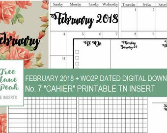 February 2018 Month + Dated WO2P Printable TN - Cahier Size