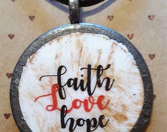 faith * hope* love - Handmade Christian Inspirational Necklace - FREE SHIPPING