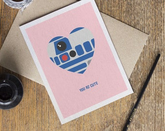Star Wars Card - R2 D2 Droid - Valentine's Day Love Anniversary Cards - Cute Funny - Boyfriend Girlfriend Him Her
