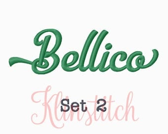 50% Sale!! Set 2 Bellico Embroidery Fonts 5 Sizes Fonts BX Fonts Embroidery Designs PES Fonts Alphabets - Instant Download