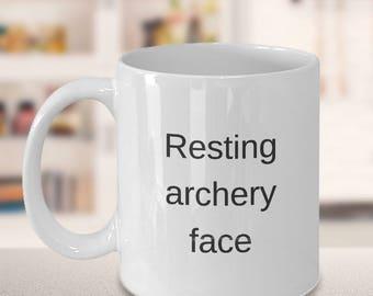 "Funny Archery Mug - Awesome Coffee Mug - ""Resting archery face"" 11 oz White Mug"