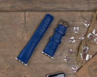 Leather Apple Watch Band, 42mm, 38mm, Blue Replacement iWatch Band, Apple Watch Strap for Series 1, 2, 3, Apple Watch Customize Cuff, WR