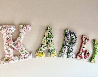 customized, floral, wood, nursery, wall letters