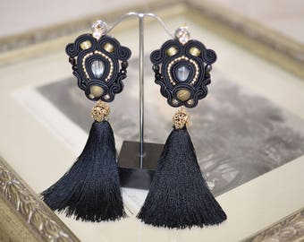 Earrings with brush, Soutache jewelry