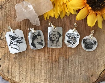 Dog Necklace, Dog Engraving, Pearl Engraving, Pearl Necklace, Dog Pendant