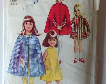 Simplicity 7520 Girls Aline Dress and Cape Size 6 Vintage 1967