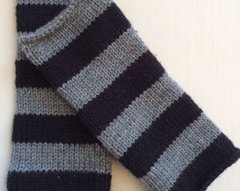 Black and grey striped fingerless wool gloves