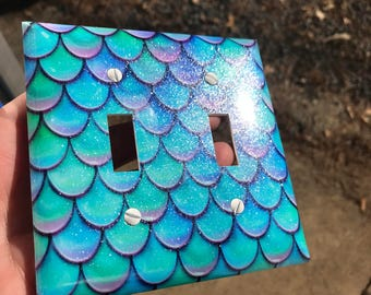 Mermaid Scales Light Switch Plate w/ glitter Mermaid Lover Purple Pink Multi Colored Blue