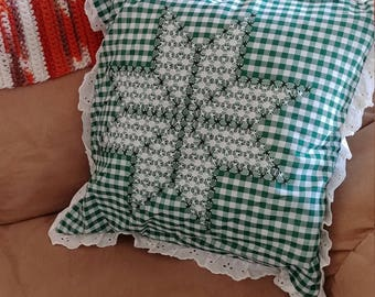 Vintage Green Gingham Decorative Pillow
