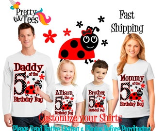 LADYBUG Birthday Girl Theme Family WHITE Shirts For the Entire Family Mom Dad Brother and More T-shirts Long/ Short sleeve Raglan LADY Bugs
