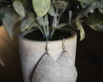 Silver Saffiano Leather Earrings