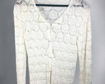 Vintage White Handmade Medallion Knit Sweater