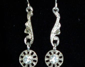 Vintage 1940s marcasite & sparkly paste earrings with 925 sterling silver ear wires