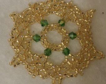 Gold Beaded Snowflake Ornament