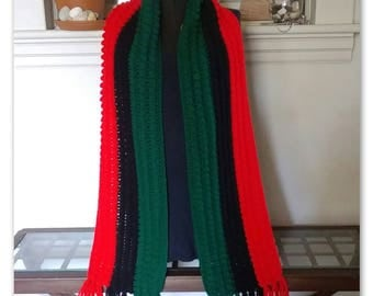 Large Red Black and Green Scarf