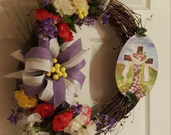 Easter Blessings Grapevine Wreath, Grapevine, Floral Wreath, Easter