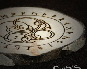 Rune Pendulum disc burned on birch wood