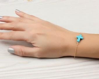 Turquoise Cross Bracelet -  Sideways Cross Bracelet - Turquoise Bracelet - Mother Bracelet - Cross Jewelry - Best Friend Gift - 0032BB