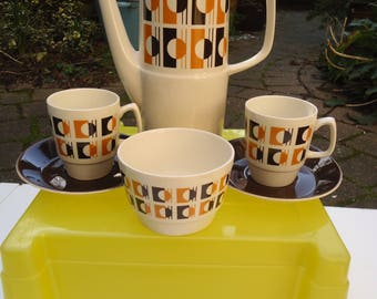 Retro 1970's Empire porcelain geometric coffee set for two