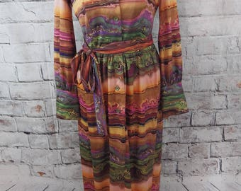 vintage GLENARD LONDON maxi dress Size 12 14 shirt style long sleeves belted psychedelic multi 1960s 1970s long retro swirly
