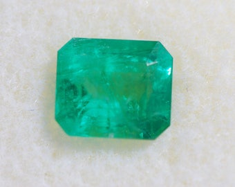 Faceted Emerald Beryl, Beautiful, Natural Green, Untreated, Emerald Cut Rectangle, 7.3 x 6.3mm, 1.45ct, F1996A