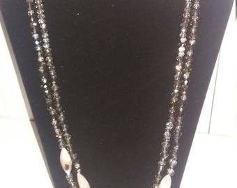 2 strand shell and glass bead necklace