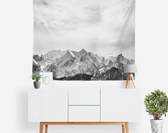 Alpine Tapestry | Nature Tapestry | Mountain Wall Decor | Black & White | Boho Tapestries | Landscape | Photography | Minimalist Home Decor